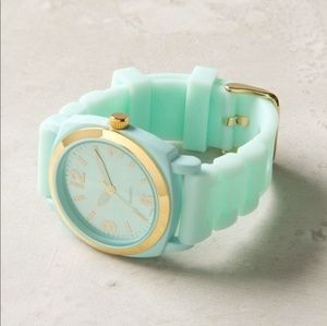 Anthropologie Teal & Gold Watch w/ Rubber Band